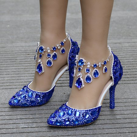 Blue Rhinestone Party & Evening All Season Glitter Stiletto ...
