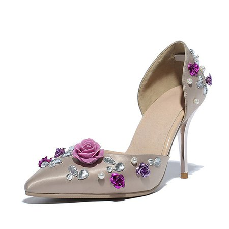 Flower Apricot Stiletto Heel Spring/Fall Satin Beading Party And Evening Heels