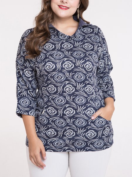 Navy Blue Shawl Collar Floral Casual Top