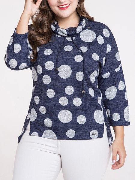 Navy Blue Slit Stand Collar Casual High Low Long Sleeved Top