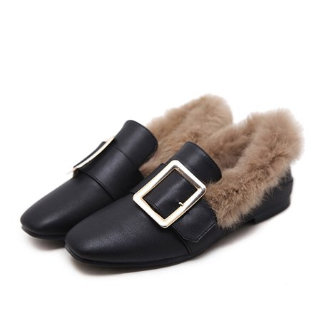 Black Fur Chunky Heel Casual Leatherette Loafers