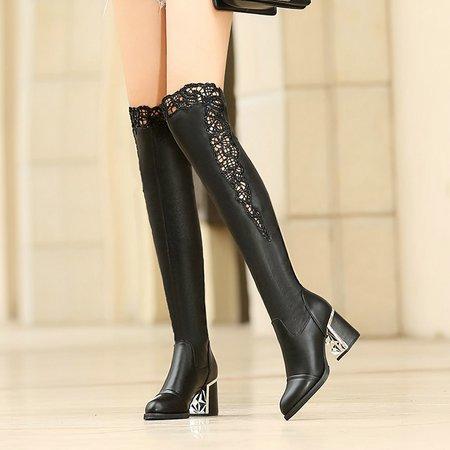Black Leatherette Winter Chunky Heel Knee-high Boots