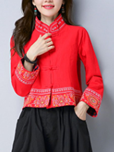 Long Sleeve Casual Embroidered Outerwear