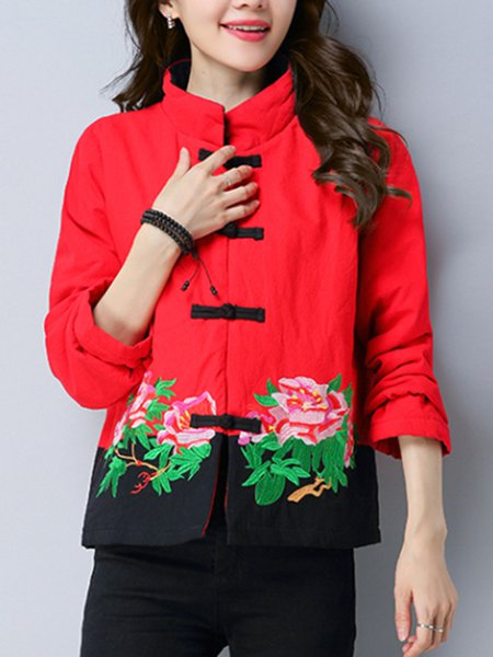 Plus Size Embroidered Long Sleeve Floral Casual Outerwear