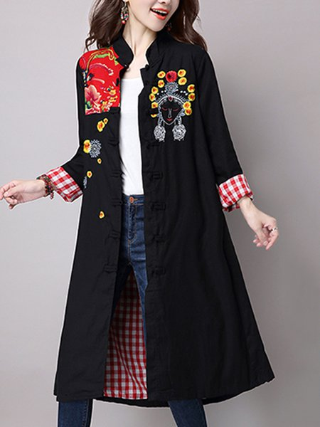 Plus Size Black A-line Stand Collar Casual Outerwear