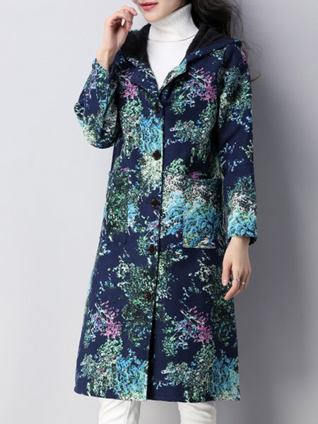 Long Sleeve Cotton Printed Abstract Casual Linen Outerwear