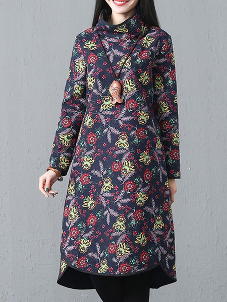 Cotton Casual Floral Long Sleeve Linen Dress