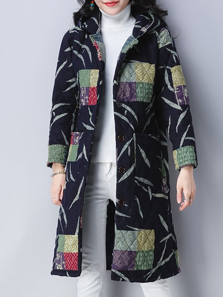 Casual Hoodie Long Sleeve Abstract Linen Outerwear
