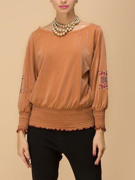 Plus Size Caramel Bateau/boat Neck Geometric Shirred Frill Sleeve Sweater