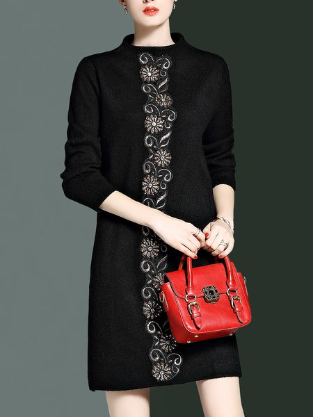 Black Embroidered Elegant Sweater Dress