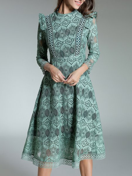 Long Sleeve Floral Stand Collar Elegant Lace Midi Dress