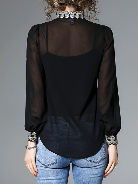 Blouse Designs Stand Collar : Elegant embroidered stand collar balloon sleeve blouse
