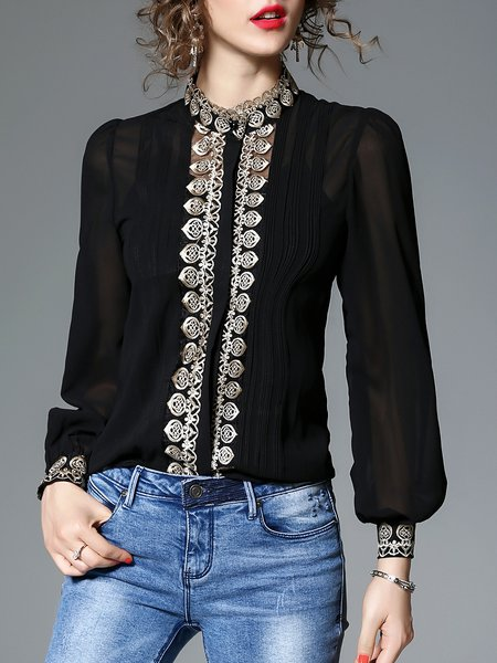 Elegant Embroidered Stand Collar Balloon Sleeve Blouse ...