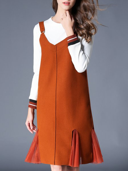 Caramel Crew Neck Girly Dress With Top