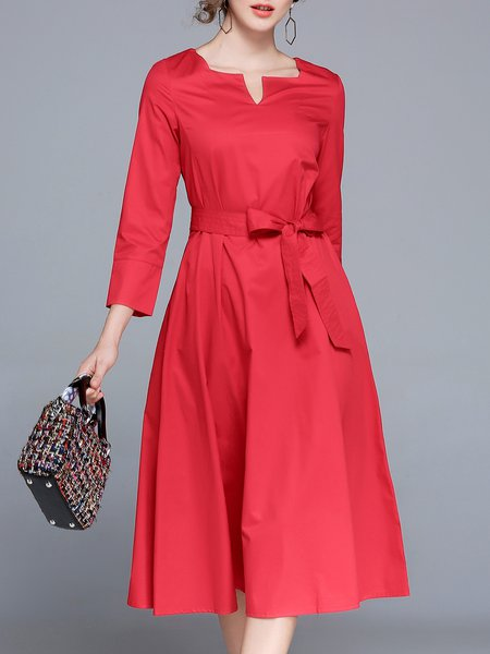 3/4 Sleeve Solid Bow Simple A-line Midi Dress