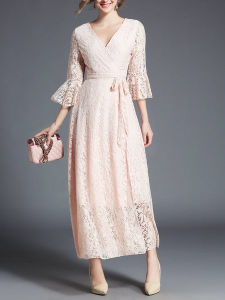A-line Guipure Lace Elegant Bell Sleeve Lace Maxi Dress