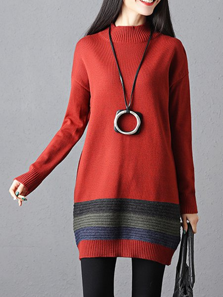 Color-block Casual Crew Neck Shift Long Sleeve Sweater Dress