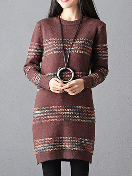 Coffee Long Sleeve Cable Knitted Sweater Dress