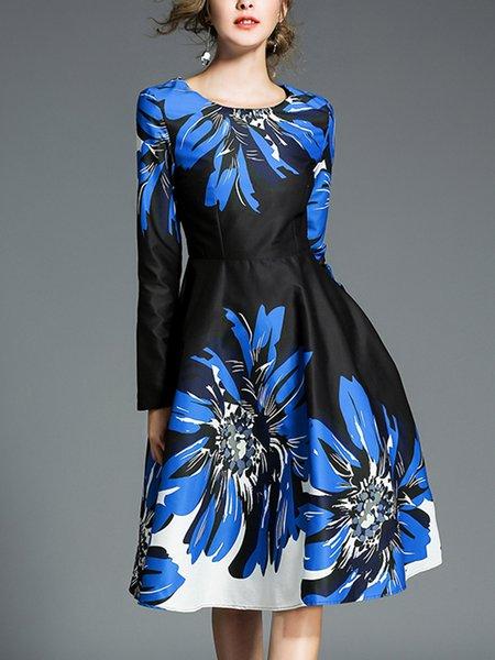 Blue Printed Skater Long Sleeve Midi Dress