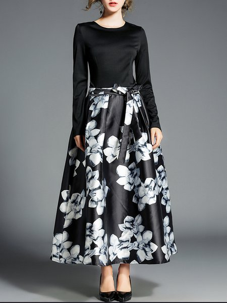 Bow Floral Long Sleeve Crew Neck Casual Maxi Dress