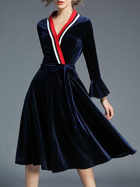 Velvet A-line Casual Bell Sleeve Paneled Wrap Dress