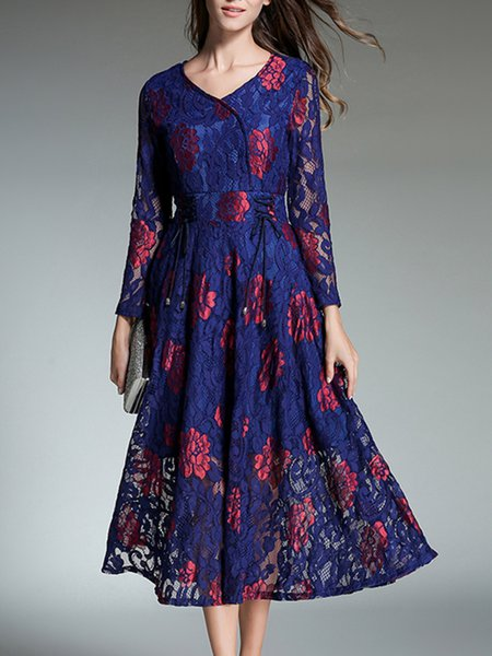 Casual Lace Up Floral Lace Long Sleeve Boho Dress