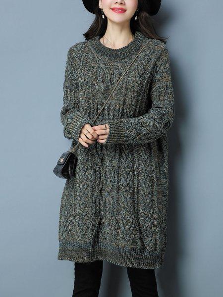 Casual H-line Plain Long Sleeve Sweater
