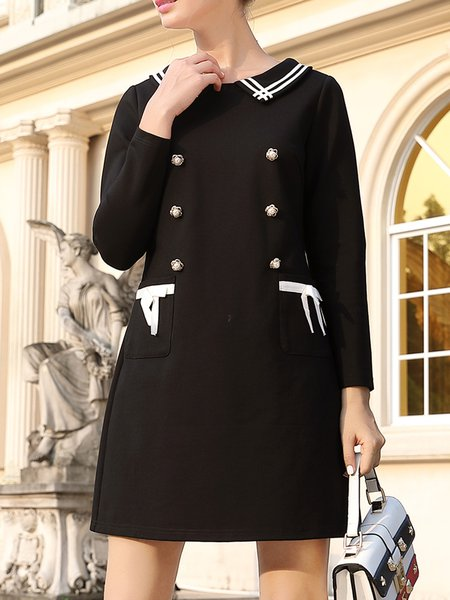 Plus Size Black Shirt Collar A-line Bow Casual Mini Dress