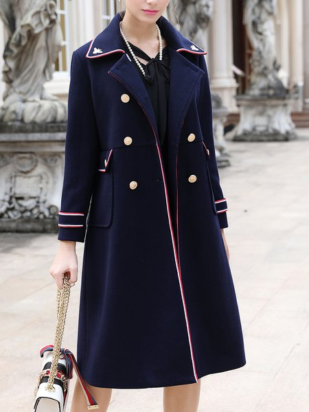 Dark Blue Plain Buttoned Long Sleeve Coat