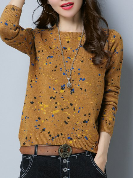Yellow Casual Painted Crew Neck H-line Knitted Sweater