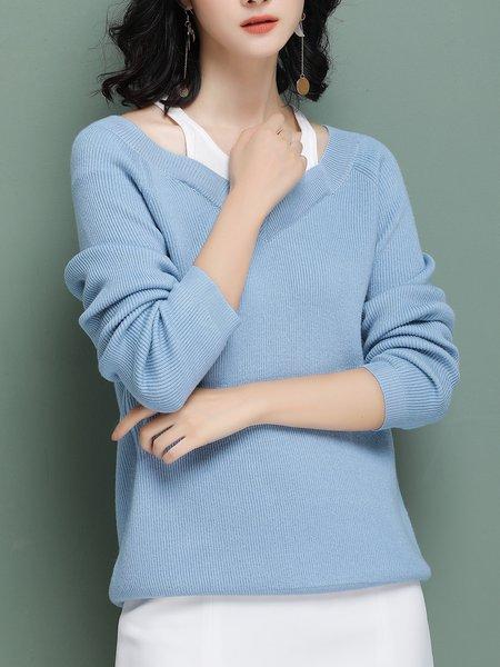 Sky Blue Solid Long Sleeve Sweater - StyleWe.com
