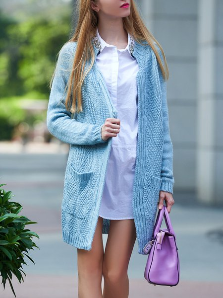 Blue Knitted Plain Long Sleeve Pockets Cardigan