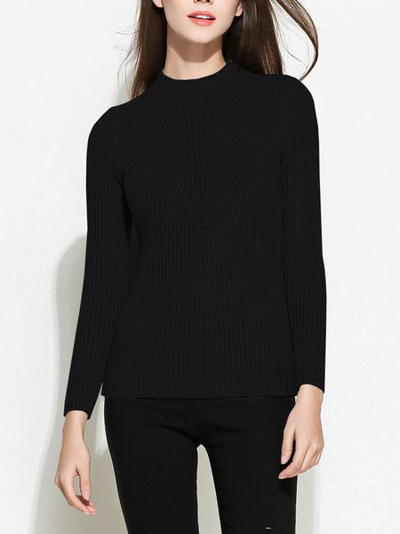 Solid Basic Long Sleeve Sweater
