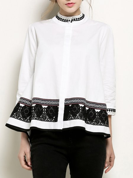 3/4 Sleeve Casual High Low Cotton Blouse