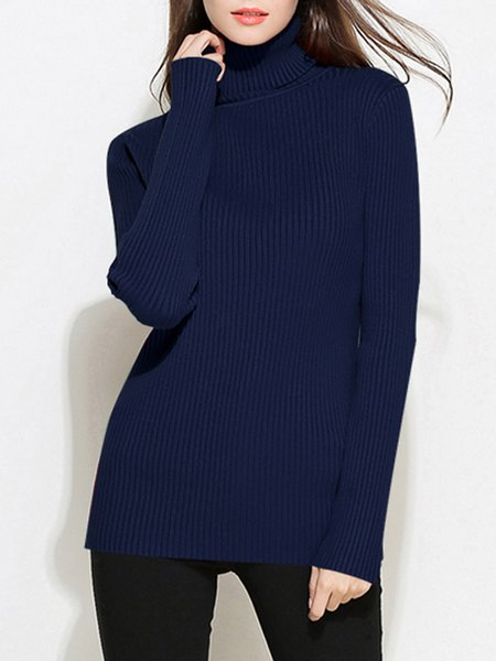 Basic Knitted Ribbed Long Sleeve Turtleneck Sweater - StyleWe.com