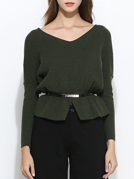 Plus Size Knitted Casual V Neck Long Sleeve Solid Sweater