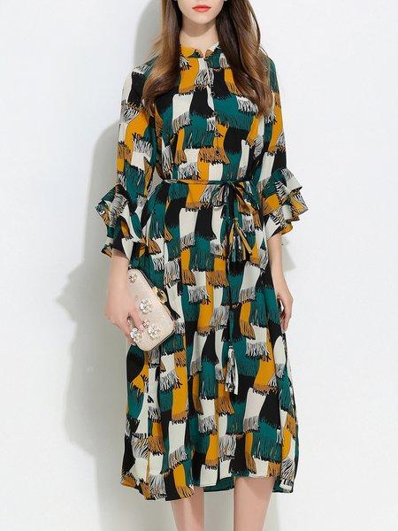 Plus Size Casual Chiffon Frill Sleeve Boho Dress