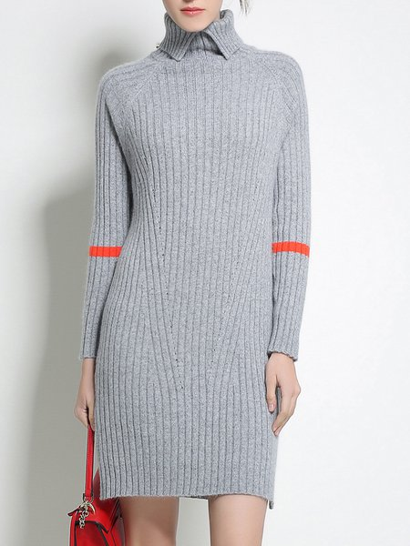 Gray Casual Turtleneck Plain Sweater Dress