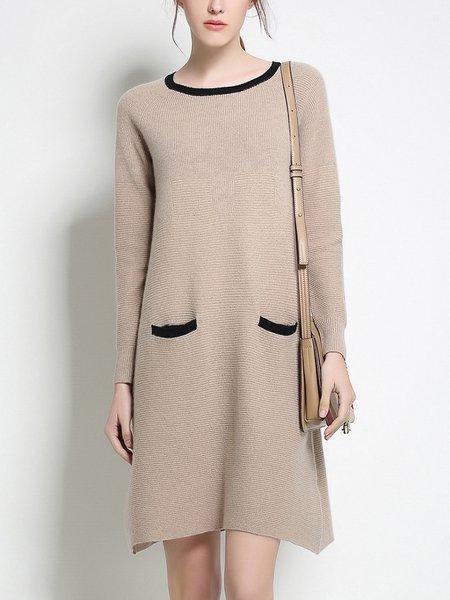 Plus Size Chalky Yellow Long Sleeve Crew Neck Plain Sweater Dress