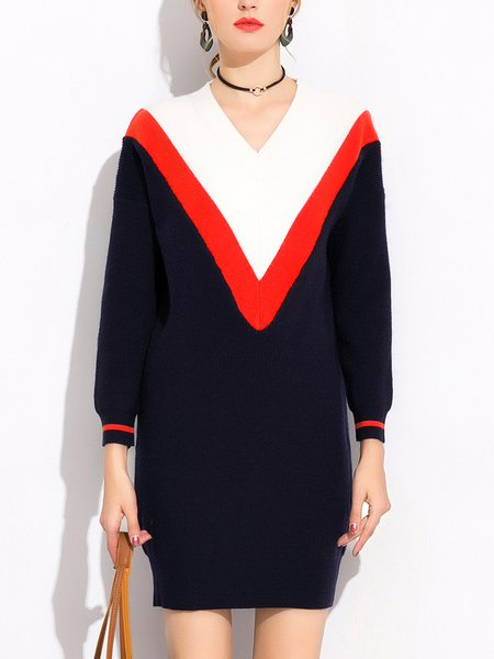 V Neck Knitted Casual Intarsia Long Sleeve Sweater Dress