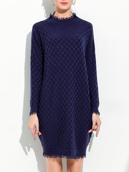 Plus Size Dark Blue Long Sleeve Fringed Stand Collar Sweater Dress