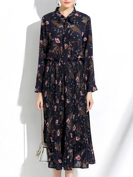 Floral Elegant Bow Tie-neck Long Sleeve Midi Dress
