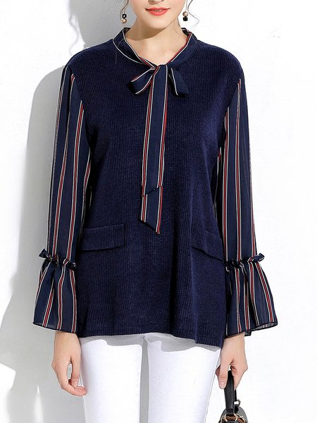Dark Blue Casual Knitted Tie-neck Bow Blouse