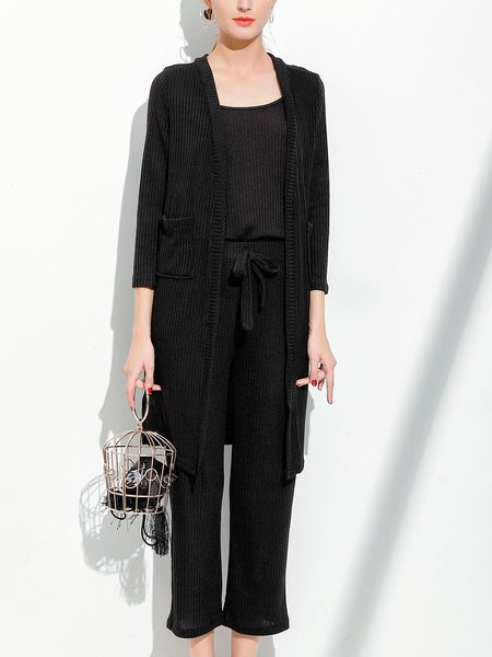 Black Casual Bow Solid Knitted Three-piece Set Cardigan With Cami With Pants