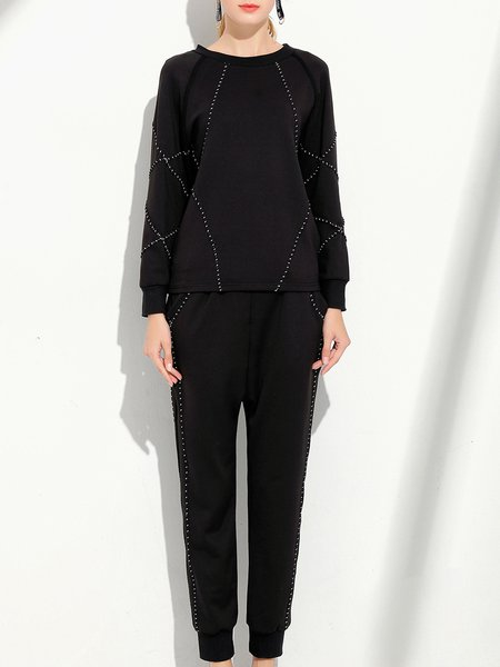 Black Two Piece Paneled Long Sleeve Bateau/boat Neck Top With Pants