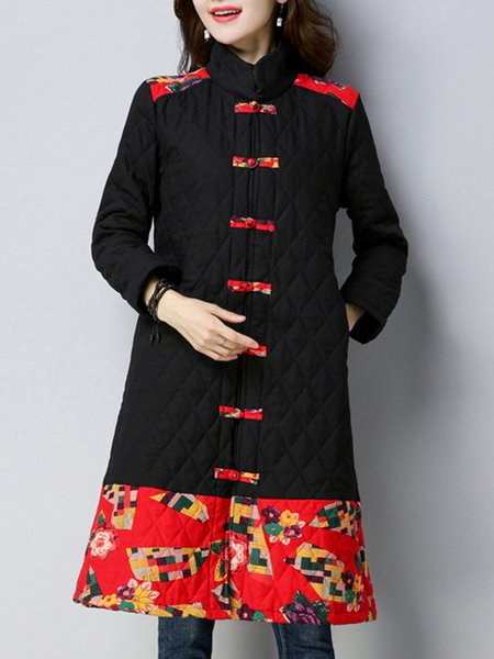 Black Printed Cotton Long Sleeve A-line Outerwear