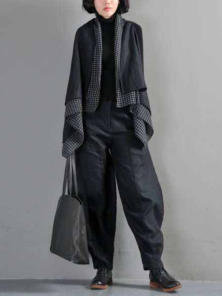 Sleeveless Linen Statement Coat With Pants