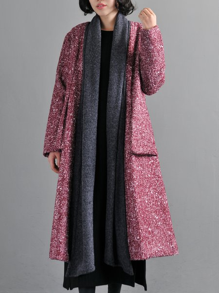 Red Wool Blend Long Sleeve A-line Paneled Coat