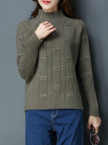Asymmetric Turtleneck Long Sleeve Casual Knitted Sweater