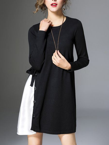 Black Asymmetrical Crew Neck Casual Knitted Midi Dress